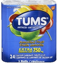 Tums 3 Pack Assorted Fruit Heartburn Relief Roll 6/3 500ml Pack Sugg Ret $4.99