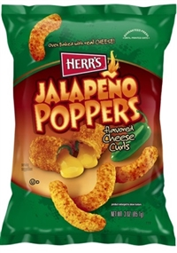 Herr's Baked Jalapeno Poppers Cheese Curls 12/198g Sugg Ret $4.99