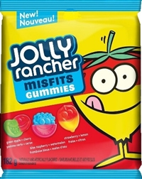 Jolly Rancher Peg Top Misfits Original Sour Gummies 10/180g Sugg Ret $3.89