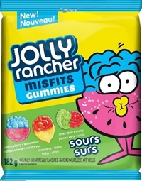 Jolly Rancher Peg Top Misfits Sour Gummies 10/180g Sugg Ret $3.89