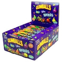 Wonka Nerds Candy Filled Gumballs-5 Balls to a Tube 24/ Sugg Ret $1.59